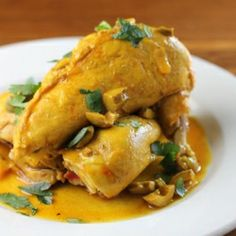 A Moroccan-inspired chicken braise with preserved lemon, ginger, saffron, and garlic.  Great for easy entertaining.