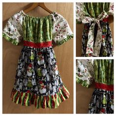 Christmas Dress Peasant Style Girls size 6 by SewMeems on Etsy