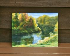 Forest River View Painting Canvas Board, Impressionist Landscape Painting, Acrylic Landscape Impressionist Landscape, Landscape Paintings, Cottage Art, Canvas Board, Forest River, In The Tree, Painting Canvas, Art Gallery, Scene