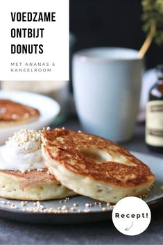 Breakfast donuts with pineapple and cinnamon cream - Beaufood Gluten Free Baking, Healthy Baking, Healthy Food, No Bake Desserts, Dessert Recipes, Alice Delice, Breakfast Dessert, I Love Food, Food Inspiration