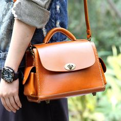 Handmade Modern Fashion Leather Messenger Handbag Small Satchel in Brown 14090