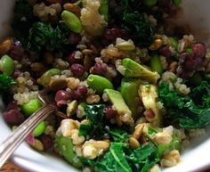 Healthy Protein Salad. Quinoa, Kale, Edamame, Lentils and Avacado with balsamic and Mustard Dressing