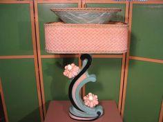 Chalkware Turquiose & Pink Flower Lamp
