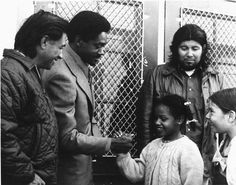 Cesar Chavez - and Bobby Seale - )meet students from Malcolm X Elementary, 1972 Photo credit: Melanie King — in Oakland, California. Power To The People, My People, Chicano, Bobby Seale, The Jackson Five, Cesar Chavez, Black Panther Party, African Diaspora, African American History