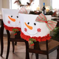 Snowman Chair Covers, Set of 2 Mrs. Snowman Chair Covers, Set of 2 Christmas Sewing, Christmas Snowman, Christmas 2019, All Things Christmas, Christmas Holidays, Christmas Ornaments, Snowman Door, Christmas Kitchen, Christmas Events