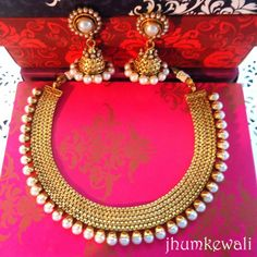 Online Shopping for GOLD n line of PEARLs necklace with Necklaces Unique Indian Products by Jhumkewali - Indian Accessories, India Jewelry, Ethnic Jewelry, Modern Jewelry, Antique Jewelry, Gold Jewelry, Jewellery Box, Unique Necklaces, Jewelry