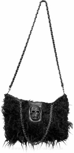 Gothic hand- or shoulder-bag with black plush and skull detail, by Queen of Darkness.