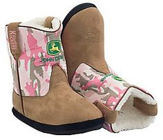 Montana Silversmiths® Cowboy Kickers™ Youth John Deere Brown w/ Pink Camo Cowboy Boot Slippers