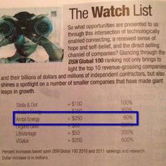 "In The Wall Street Journal, you will see Ambit Energy on ""The Watch List"" of companies that have made giant leaps in growth."