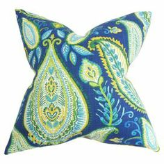 """Cotton pillow with a paisley motif and feather-down fill. Made in Boston, Massachusetts.    Product: PillowConstruction Material: Cotton cover and 95/5 down fillColor: UltramarineFeatures:  Insert includedHidden zipper closureMade in Boston Dimensions: 18"""" x 18""""Cleaning and Care: Spot clean"""
