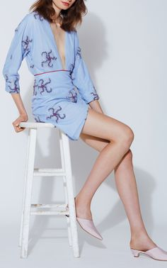 Thetis Brittle Starfish Wrap Mini Dress by MARKARIAN for Preorder on Moda Operandi