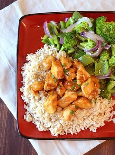 Sweet and savory sauce on delicious chicken with veggies and rice; definitely a perfect meal.