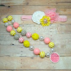 Pink Lemonade Chunky Necklace and Headband Set by PrettyPoshTot, $30.00