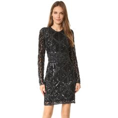 Parker Parker Black Isabelle Dress ($650) ❤ liked on Polyvore featuring dresses, lined dress, lining dress, geometric pattern dress, geo print dress and crew neck dress