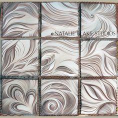 """Ocean"" carved tiles . . . sgraffito carved handmade tiles . . . waiting to be glazed . . ."