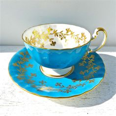 Vintage Blue Aynsley Tea Cup and Saucer by twolittleowls on Etsy, $38.00
