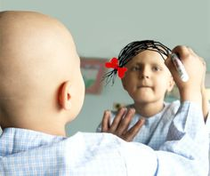 a picture is worth a thousand words - this is for all the little ones suffering from cancer. A bald head can be a beautiful thing, but it doesn't stop a little girl from dreaming of pigtails and curls.