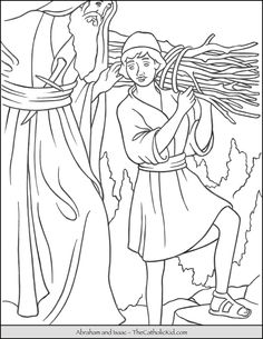 Abraham Isaac coloring page. Isaac carries the wood.