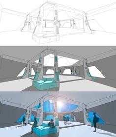 Sci-fi waiting deck concept. Shuttle hall.