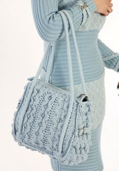 Knitted crochet bag Happy day light blue medium by velgacode, $30.00