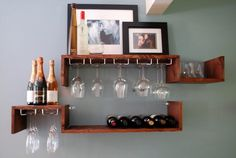 Wall Mounted Wine Rack and Glass Candle or by TheWoodshopProject, $250.00