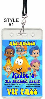 BUBBLE GUPPIES VIP PASSES WITH LANYARDS
