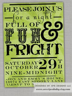 Halloween Party Invitation  Poster Style by sweetpeababy on Etsy, $16.00