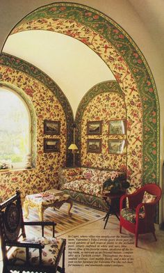 1984: Sumptuous, florid walls are custom-upholstered to fit a vaulted alcove next to the sitting room, which overlooks the gardens. Photographed by Jacques Dirand, Vogue, December 1984.
