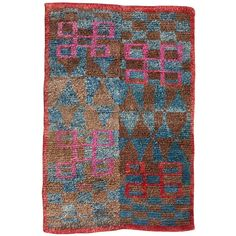 Outstanding Tibetan Checkerboard Sitting Rug With Lots Of Charm | From a unique collection of antique and modern chinese and east asian rugs at http://www.1stdibs.com/furniture/rugs-carpets/chinese-rugs/