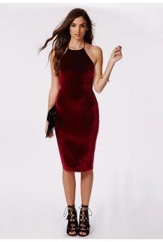 7d5ce24ddd9 Freda Velvet Strappy Midi Dress Burgundy Green Velvet Dress