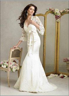 Elegant Exquisite Satin & Lace Mermaid/trumpet V-neck Wedding Dress In Great Handwork