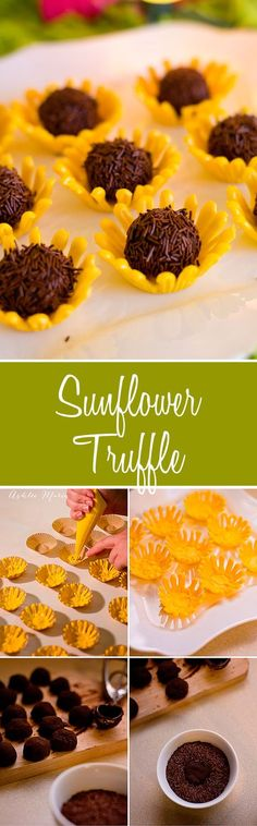 Chocolate sunflower truffles in a candy bowl