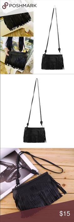 """Black vegan leather fringe Crossbody NEW in bag 10""""x6"""" with 24"""" strap drop. Next day shipping. NEW with bag Bags Crossbody Bags"""