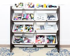 Children's toy storage solutions for simple, maintainable art supply storage.
