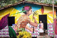 Dona Angelica e o melhor café da Ilha. #STREETRIVER na #IlhaDoCombu _ Primeira galeria fluvial da Amazônia. Belém do Pará - 2016. Super projeto @sebatapajos  @paranaueheadshop  Foto de @os.indios #acidumproject #acidum #arteurbana #painting #fortaleza #ceara #spray #acrylic #artwork #duo #fineart #abstract #mural #muralism #risquetudo #artwork  #expandedpainting #amazonia #povosribeirinhos by acidumproject