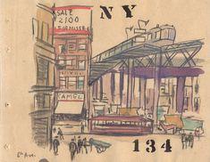 Acuarela-134-del-album-de-acuarelas-de-Nueva-York Acuarela realizada por Joaquín Torres García que refleja una escena callejera de Nueva York
