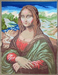 """European Printed Needlepoint 10ct SILF BUTTERFLY Gioconda/Mona Lisa (partially completed) - AD7 -- Canvas Condition: used; Canvas Count: 10ct Antique Penelope Design Size: 13.25"""" x 17.5"""" Canvas Size: 18"""" x 23"""" (6)"""