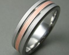 Diamond Stainless Steel and Copper Ring by spexton on Etsy