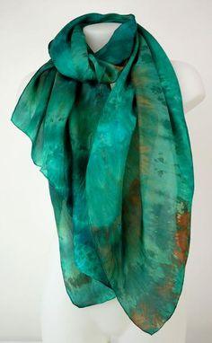 7df2cc7237ca5 Emerald Maze - large silk scarf in deep emerald green hints of orange brown  Tiffany Green