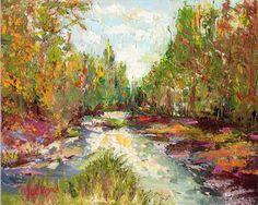 Abstract Art, Palette Knife Painting, original oil framed, river art, abstract art,coastal art, NC art, Landscape art, coastal painting,