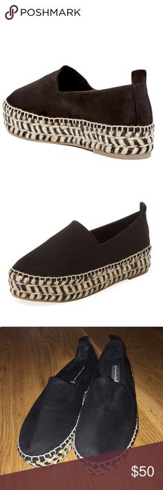 BRAND NEW NWOT Steve Madden Pipah espadrilles! TAKING BEST OFFER/Black suede/perfect condition/ BRAND NEW/new worn, not even once!/ordered but were too small on me/size 8.5 but fit more like an 8!!!/I'm usually an 8.5 and these are a little small/taking best offer/literally some of the cutest shoes ever/go with any outfit Steve Madden Shoes Espadrilles