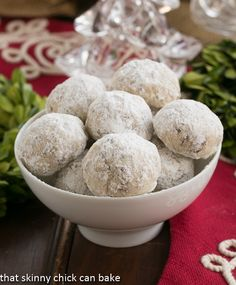 Toffee Noel Nut Balls (Mexican wedding cookies) made extraordinary by adding chopped Heath bars to the batter. Recipe by @Shannon Thomas Skinny Chick Can Bake!!! @KatrinasKitchen