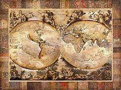 lamina de un mapa antiguo, old world - 80 x 60 cm