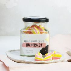 Holly's Lollies is the market leader in alcoholic confectionery; from lollipops to humbugs, all made in small batches using traditional methods in the UK. Rhubarb Gin, Rhubarb And Custard, Gin Gifts, Alcohol Gifts, Edible Wedding Favors, Gin Lovers, Vegan Shopping, Party Treats, Chocolate
