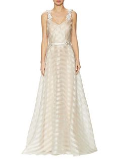 Silk Organza Striped Belted Gown by Marchesa Notte at Gilt