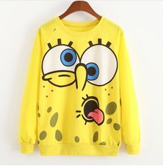 Cheap women wild, Buy Quality outerwear winter directly from China outerwear blazer Suppliers: Sudaderas Mujer 2017 Kawaii Funny SpongeBob Printed Sweatshirt O-Neck Jumper Pullvoer Harajuku Cartoon Hoodies Women Outerwear Hoodie Sweatshirts, Casual Sweaters, Sweaters For Women, Moda Do Momento, Plus Size Kleidung, Trendy Fashion, Womens Fashion, Pretty Outfits, Ideias Fashion