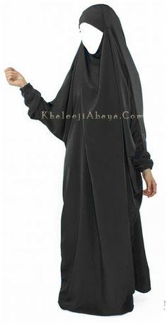 A one-piece abaya for complete Islamic coverage. http://khaleejiabaya.com/khimar