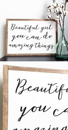 Beautiful Girl You Can Do Amazing Things, Farmhouse Decor, Rustic Home Decor, Framed Wood Sign,  Nursery Decor, Little Girl wall art, Kids bedroom decor, Playroom art, Rustic sign, Farmhouse sign, gift idea #ad