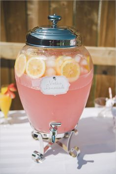 For wedding tho!!!! vodka lemonade with recipe! http://www.weddingchicks.com/2013/08/27/sexy-bachelorette-party-ideas/