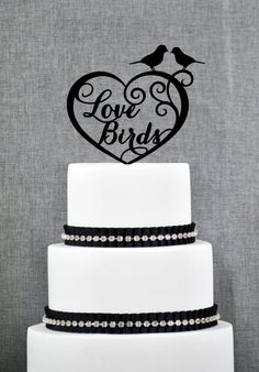 Love Birds in Heart Wedding Cake Topper, Romantic Wedding Cake Topper, Modern and Elegant Wedding Cake Topper - (S142)
